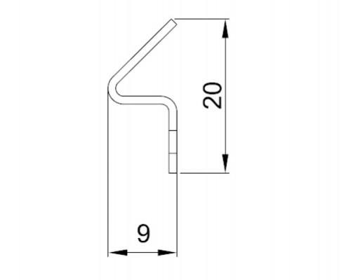 8PT1-32 ответная планка под магнитный уплотнитель, L=2.2m.